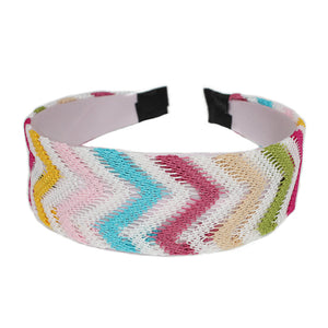 Pink Multicolor Woven Knit Chevron Headband