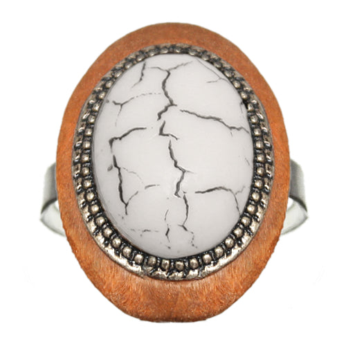 White Wooden Crackle Oversized Adjustable Ring