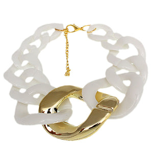 White Graduated Adjustable Chain Link Bracelet
