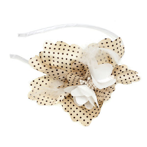 White Polka Dot Feather Flower Headband