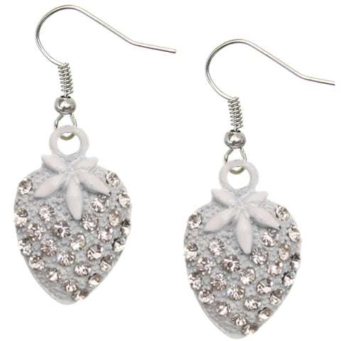 White Strawberry Mini Rhinestone Earrings