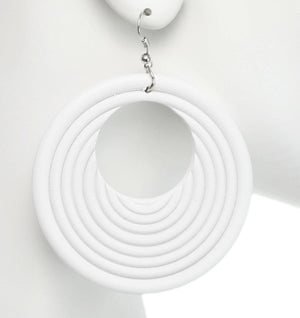 White Wooden Circular Roll Texture Dangle Earrings