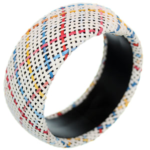 White Multicolor Knit Woven Bangle Bracelet