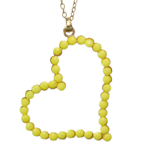 Yellow Beaded Heart Charm Chain Necklace