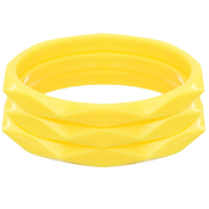 Yellow 3-Piece Flat Design Stacked Bracelets