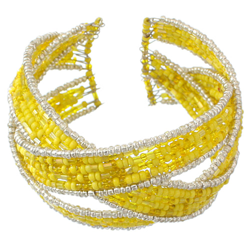 Yellow Intertwined Beaded Cuff Bracelet
