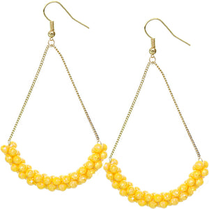 Yellow Beaded Iridescent Drop Chain Earrings