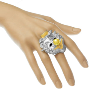 Yellow Bead Rhinestone Clown Adjustable Ring