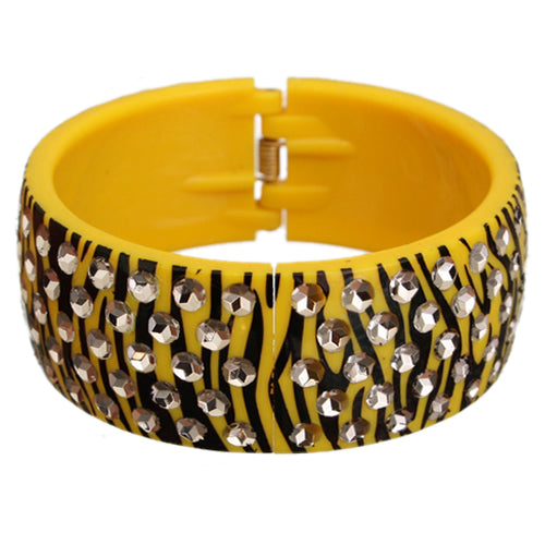 Yellow Black Five Row Zebra Hinged Bracelet