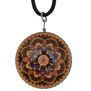Yellow Multicolor Kaleidoscope Nylon Charm Necklace