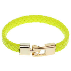 Yellow Braided Woven Leather Latch Bracelet