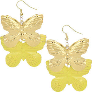 Yellow Metal Butterfly Dangle Earrings