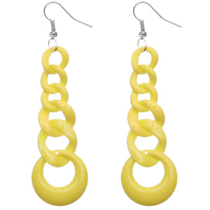 Yellow Gradual Chain Link Earrings