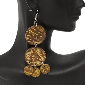 Yellow Coconut Round Disc Earrings