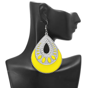 Yellow Open Teardrop Earrings