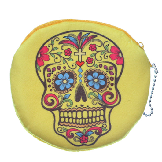 Yellow Day of the Dead Skull Zipper Wallet