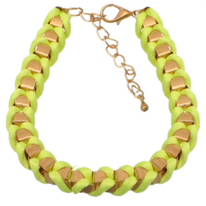 Yellow Fabric Twisted Metal Clasp Bracelet