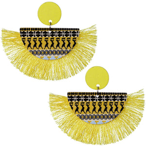 Yellow Wooden African Print Tassel Fan Earrings