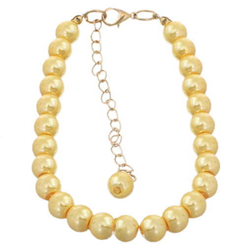 Yellow Faux Pearl Beaded Bracelet