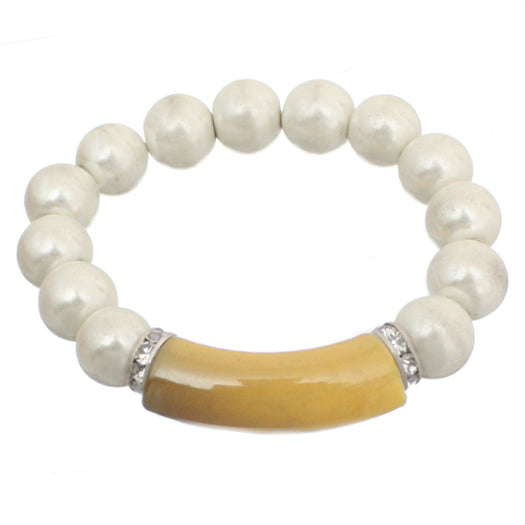 Yellow Faux Pearl Beaded Stretch Bracelet
