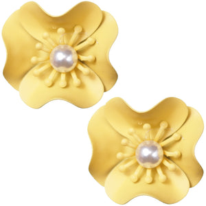 Yellow Faux Pearl Flower Earrings