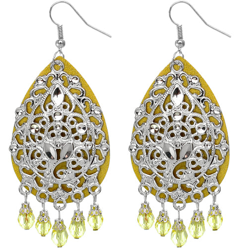 Yellow Beaded Filigree Dangle Earrings