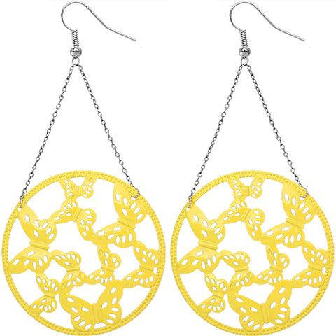 Yellow Gigantic Butterfly Chain Earrings