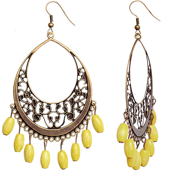 Yellow Gold Wooden Filigree Drop Earrings