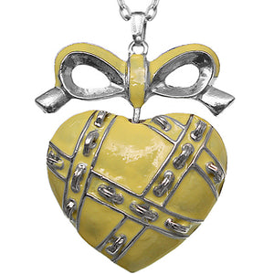 Yellow Heart Bow Charm Necklace