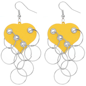Yellow Heart Ring Dangle Earrings