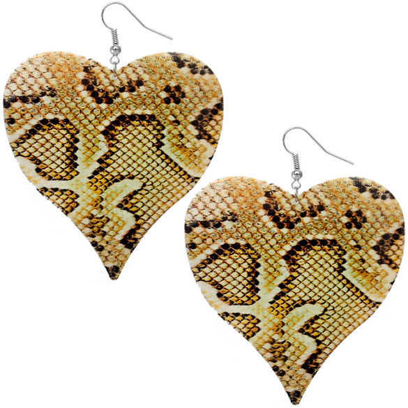 Yellow Snakeskin Drop Earrings
