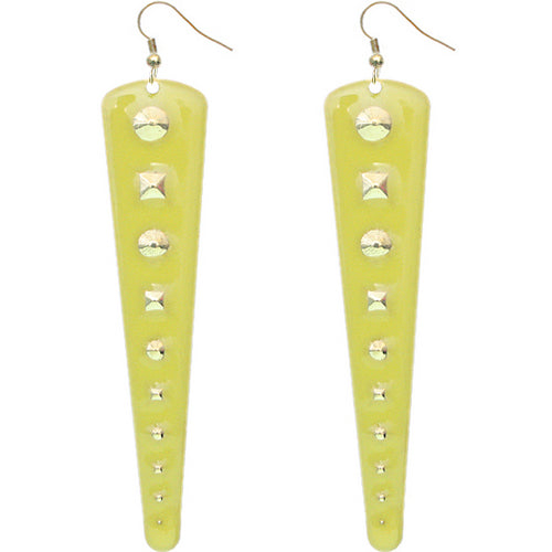 Yellow Inverted Studded Triangle Dangle Earrings