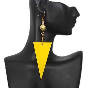 Yellow Inverted Triangle Drop Chain Dangle Earrings