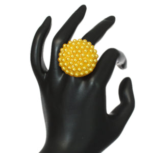Yellow Large Beaded Fashion Ring