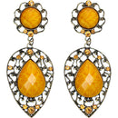 Yellow Teardrop Gemstone Link Post Earrings