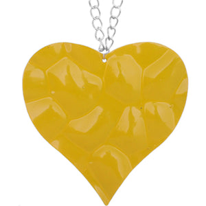 Yellow Large Hammered Heart Chain Necklace