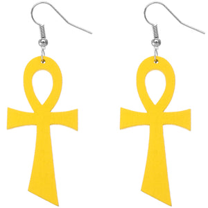 Yellow Wooden Ankh Earrings