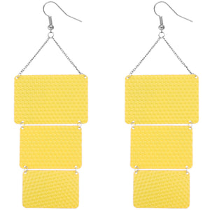 Yellow Triple Square Link Drop Earrings