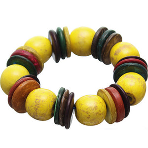 Yellow Multicolor Wooden Bead Stretch Bracelet