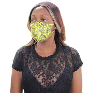 Yellow Paisley Face Mask