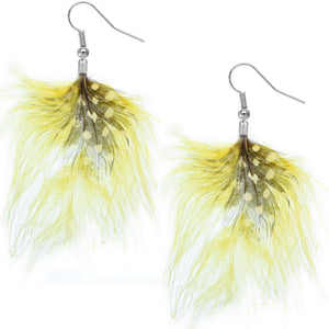 Yellow flowy feather earrings