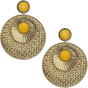 Yellow Large Beaded Thin Disc Earrings