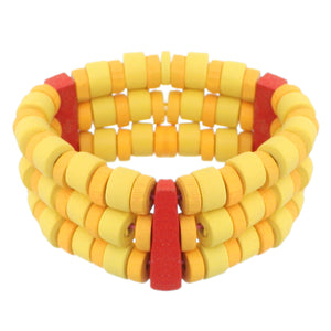 Yellow Red Wooden Beaded Stretch Bracelet