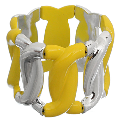 Yellow Silver Chain Link Stretch Bracelet