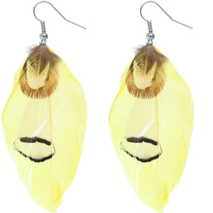 Yellow Feather Earrings