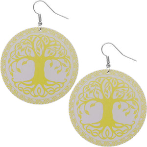 Yellow Tree of Life wood earrings