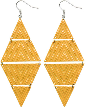 Yellow Inverted Triangle Link Earrings