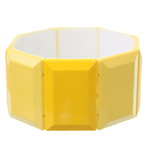 Yellow Square Two Tone Stretch Bracelet