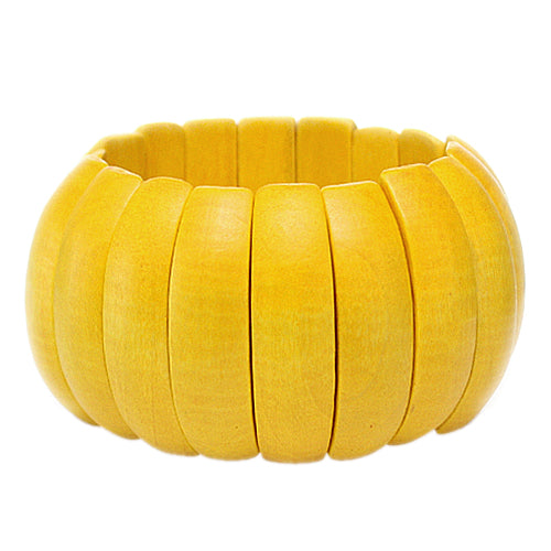 Yellow Wooden Arch Stretch Bracelet