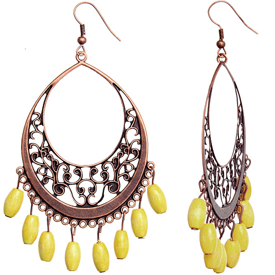 Yellow Rose Wooden Filigree Drop Earrings